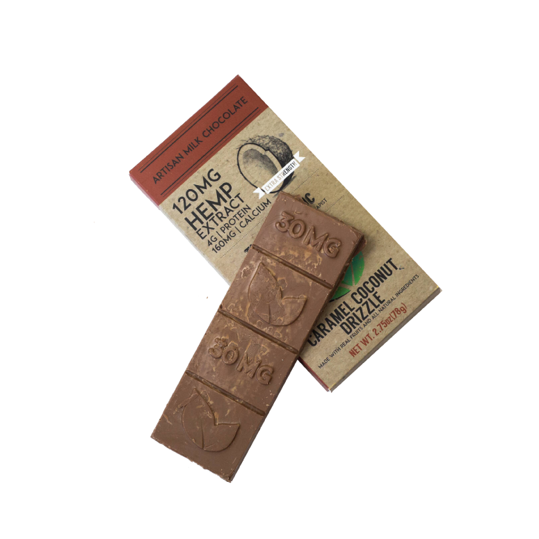Therapeutic CBD Extra Strength Caramel Coconut Drizzle Chocolate Bar
